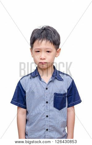 Young asian boy crying isolated over white