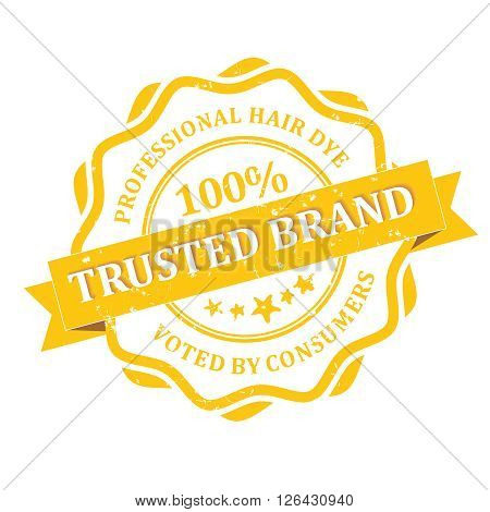 Professional Hair Dye Trusted brand rubber grunge label. Print colors used.