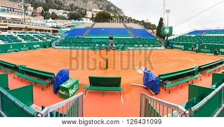 Monte Carlo Monaco - 17 April 2016: Clay tennis court prepared for the Monte-Carlo Rolex Masters finals. The tournament is played every year in the April-May period.