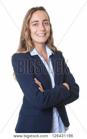 Smart blond businesswoman with blue eyes and blazer on an isolated white background for cut out