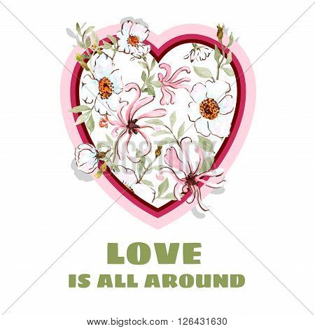 honeysuckle and wild rose HEART postcard paper design