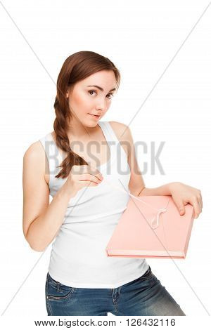 Beautiful woman with gift box isolated on white