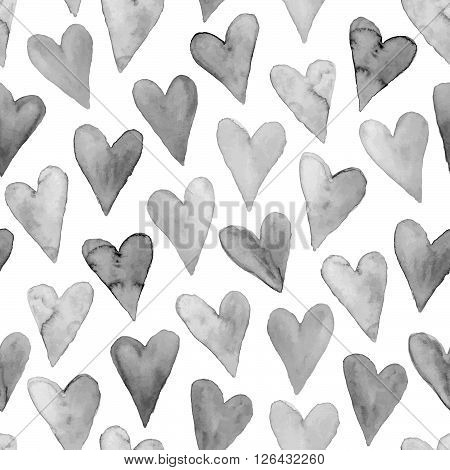 Watercolor hearts seamless background black on white. Grayscale watercolor heart pattern. Monochrome watercolor romantic texture.