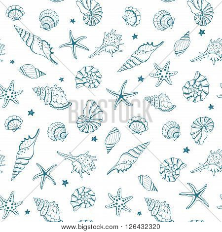 Seashells Seamless Background