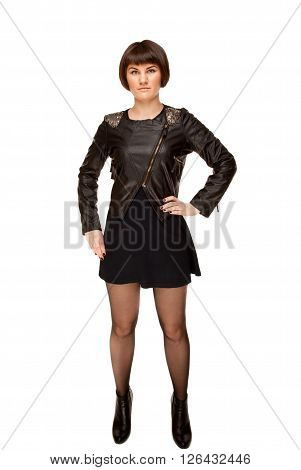 Picture of stylish woman in black jacket with shoulder loops