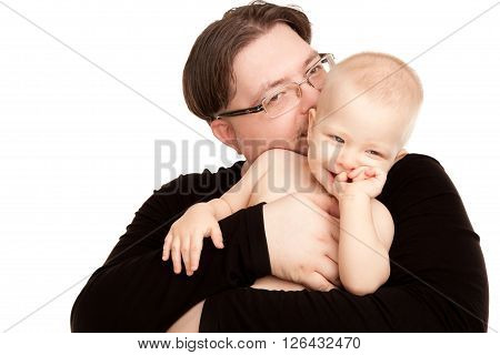 Picture of happy father with a baby isolated on white