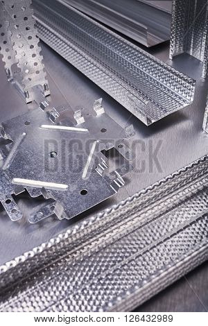 Profile for plasterboard, plasterboard fastening, set of building profiles, building materials, steel profiles for repair, construction works, modern building materials