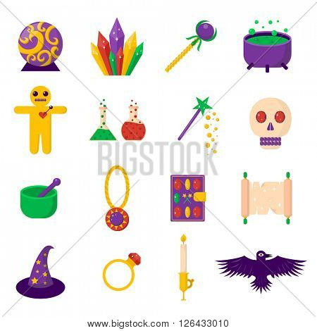 Theater magic icon set trick star surprise entertainment collection wizard vector illustration.