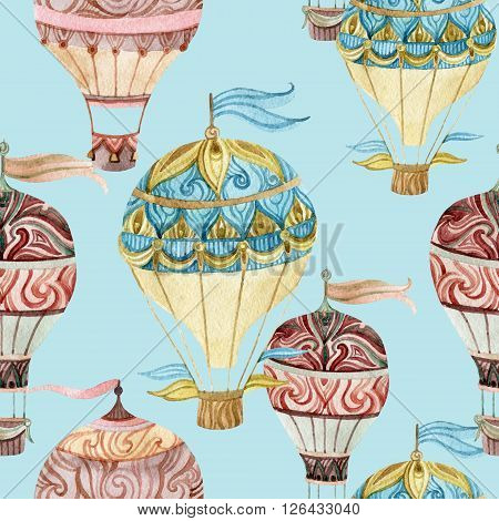 Aerostat vintage seamless pattern. Watercolor hot air balloons. Hand painted illustrations on blue background