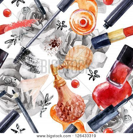 Watercolor beauty seamless pattern. Essential makeup must-haves painting. Beauty product background. Cosmetics on roses background. Hand painted illustration for fashionable design.