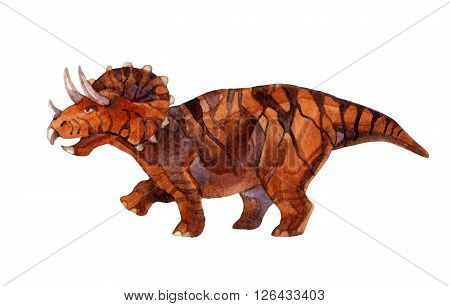 Dinosaur triceratops isolated on white background. Watercolor illustration