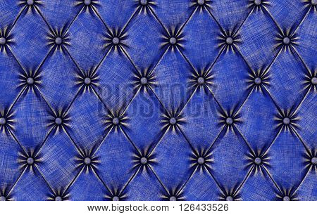 luxurious texture of blue leather upholstery. 3D illustration.