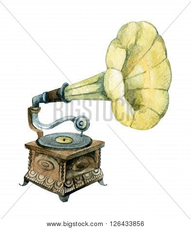 Retro gramophone. Watercolor phonograph. Hand painted illustration isolated on white background