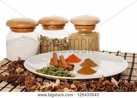 Picture of a plate with different spices on the table