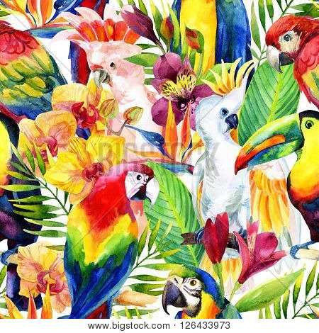 watercolor parrots with tropical flowers seamless pattern. Exotic background. Hand painted illustration of different species of parrots in vivid colors