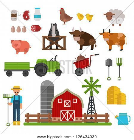 Farm animals, food and drink production symbols, organic product, machinery and tools on the farm vector illustration.