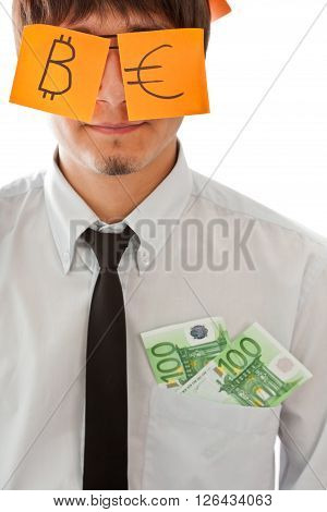 Concepts of future wealth(businessman with two banknotes in his pocket)