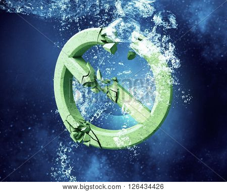 Prohibition symbol under water