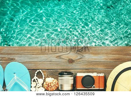 Travel and beach items at jetty