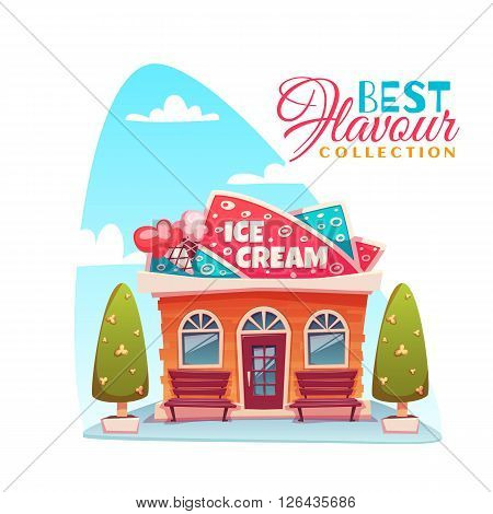 Vector illustration of ice cream shop building. Best flavour collection banner.