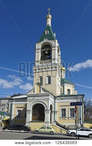 MOSCOW, RUSSIA - APRIL 12, 2016: Church of Elijah the Prophet Obydennyi 2nd Obydenskiy lane 6. Built in 1702-1706 landmark