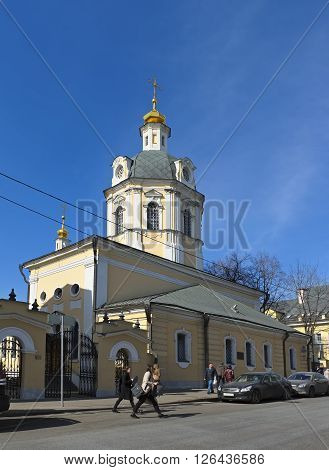 MOSCOW, RUSSIA - MARCH 28, 2016: Church of St. Nicholas in the bell ringers 1760-1781 years the street Rozhdestvenka 15/8 objects of cultural heritage of the Russian Federation