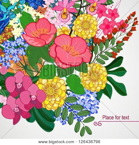 Vector illustration greeting card beauty and fashion. Background with flowers and leaves.