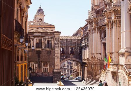 CATANIA ITALY - MARCH 31: View of Via dei Crociferi and San Benedetto Arch on March 31 2016