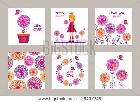 Happy Mother's Day. Set of greeting cards for Mother's Day, birthday with little girl and boy. Spring decorative flowers with butterfly. Doodles, sketch for your design. Vector illustration.