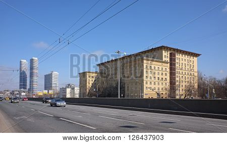 MOSCOW, RUSSIA - APRIL 4, 2016: Urban landscape. Street Mira Avenue a view of the residential building of the Supreme Economic Council (Supreme Economic Council) Building 184 Building 1 and residential high-rise complex