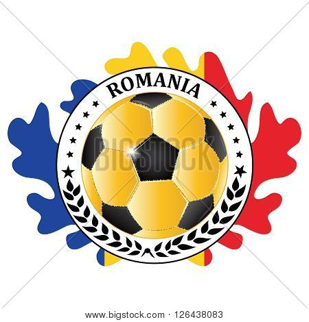 Romania 2016 football team sign, containing a soccer ball and the Romanian flag. Print colors used