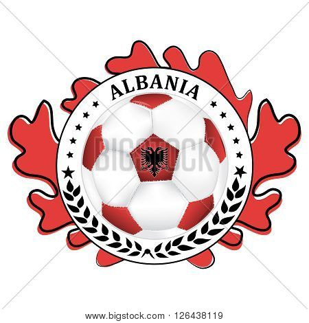 Albania 2016 football team sign, containing a soccer ball and the Albanian flag. Print colors used