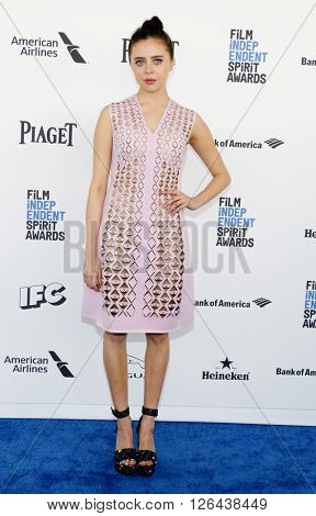 Bel Powley at the 2016 Film Independent Spirit Awards held at the Santa Monica Beach in Santa Monica, USA on February 27, 2016.