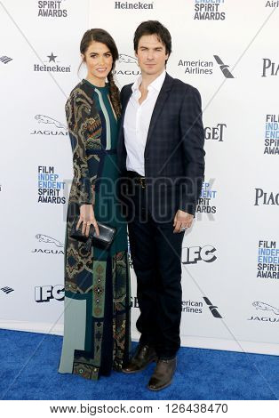 Ian Somerhalder and Nikki Reed at the 2016 Film Independent Spirit Awards held at the Santa Monica Beach in Santa Monica, USA on February 27, 2016.