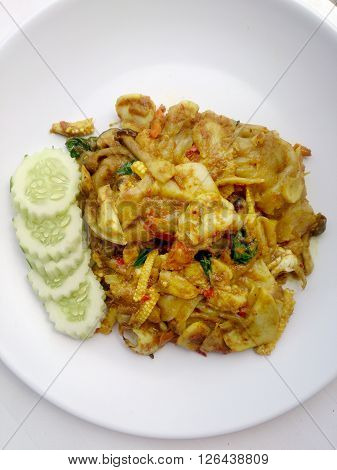 Fried Noodle With Green Curry And Shrimp In Padthai Style, Thai Food.