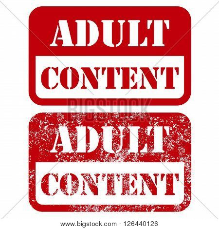 Adult content square sign - shabby stamp