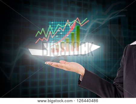 woman bussiness hand with  future digital graph bussiness