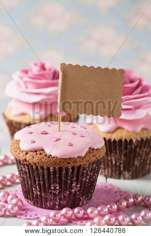 Cupcake with rose flowers