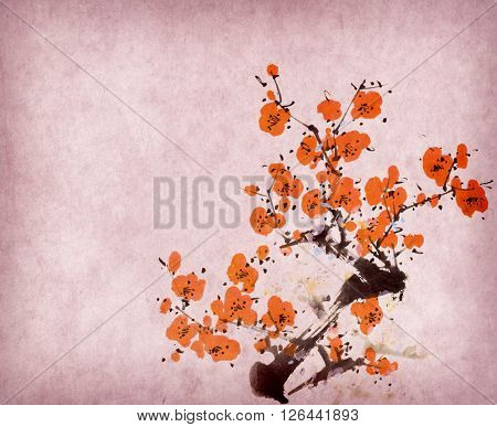Traditional Chinese painting of flowers and two birds