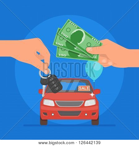 Car sale vector illustration. Customer buying car from dealer concept. Car salesman giving key to new owner. Hand holding car key and money.