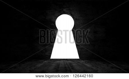 key shape on wall in dark room with light to exit , 3d image render