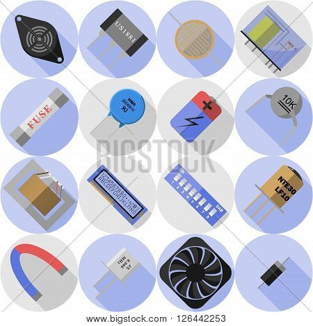 set of vector icons of electronic components