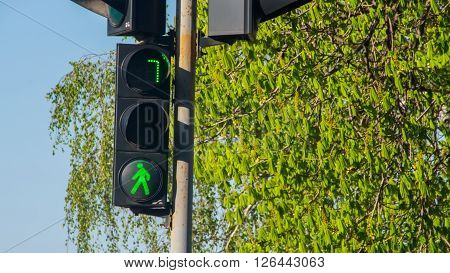 green sign at the traffic lights on the street