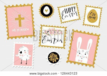 Postal stamps set collection - Easter eggs, bunny, chicken