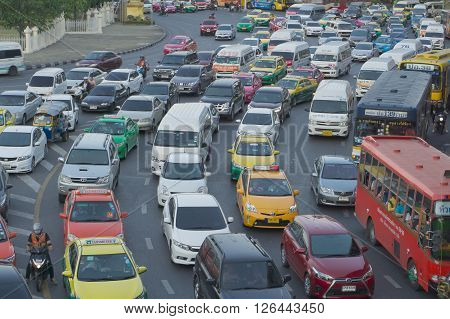 Bangkok Thailand - April 9 : Rush hour of traffic circle near the Victory Monument BTS Station on April 9 2016 in Bangkok Thailand.