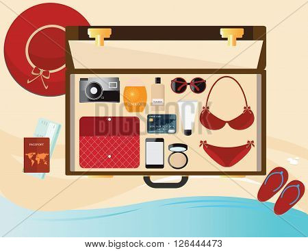 Summer holiday with fashion female accessories red bikini sunglasses hat and sunblock in suitcase Top view holiday Beach vector illustration.