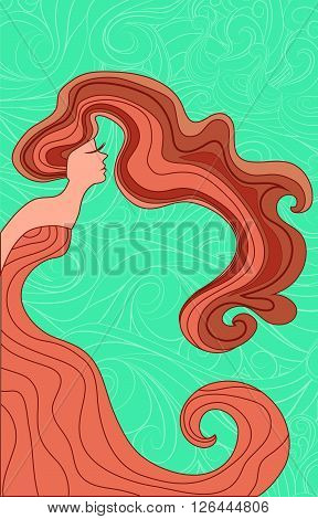 Vector silhouette of a woman with long hair and a long dress like a wave