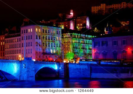 Bonaparte Bridge On The River Saone  (Lyon, France)