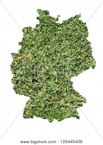 Map of Germany filled with green grass, environmental and ecological concept.