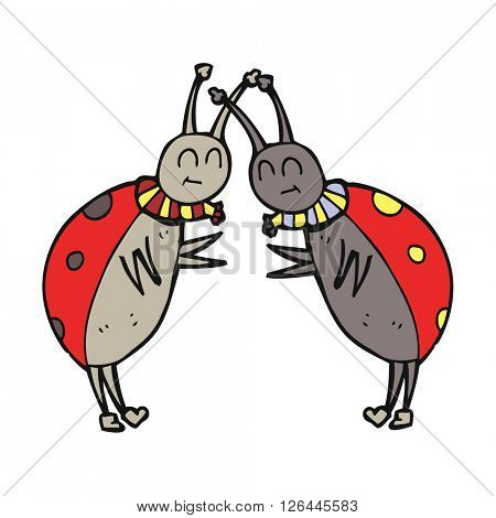 freehand drawn cartoon ladybugs greeting